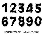 set of grunge numbers.vector... | Shutterstock .eps vector #687876700