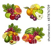 Fruits Bunches Icons Set....