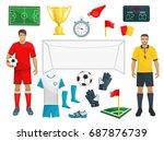 football or soccer sport game...   Shutterstock .eps vector #687876739