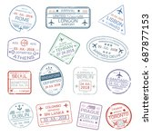 passport stamps set with city... | Shutterstock .eps vector #687877153