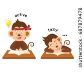opposite active and lazy vector ... | Shutterstock .eps vector #687879478