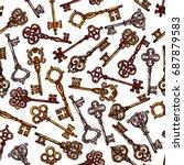 keys seamless vintage pattern....   Shutterstock .eps vector #687879583