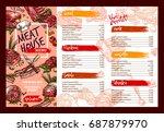 meat restaurant menu template.... | Shutterstock .eps vector #687879970