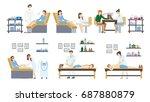 beauty salon set on white... | Shutterstock . vector #687880879