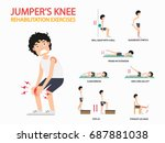 jumper's knee rehabilitation... | Shutterstock .eps vector #687881038