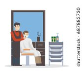 man at barbershop. hairdresser... | Shutterstock . vector #687882730