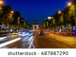 champs elysees and arc de... | Shutterstock . vector #687887290