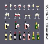 wine glasses and bottles flat... | Shutterstock .eps vector #687887728