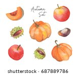 watercolor autumn set with... | Shutterstock . vector #687889786
