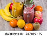 fresh berry and fruits smoothie ... | Shutterstock . vector #687893470