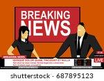 internet tv breaking news male... | Shutterstock .eps vector #687895123