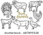 Farm Animal Set. Fresh Organic...