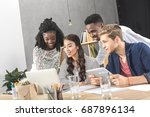 multicultural concentrated... | Shutterstock . vector #687896134