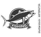 tuna big fishing on white logo... | Shutterstock .eps vector #687896734