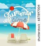 summer time concept. beach... | Shutterstock .eps vector #687897004