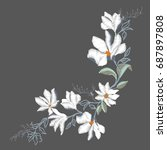 magnolia flower embroidery ... | Shutterstock .eps vector #687897808