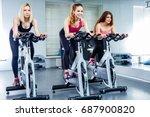 young attractive girls do... | Shutterstock . vector #687900820