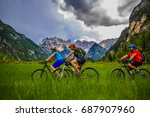 mountain biking family with... | Shutterstock . vector #687907960
