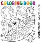 coloring book flying saucers... | Shutterstock .eps vector #687910273