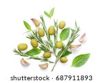 natural olives with herbs and... | Shutterstock . vector #687911893