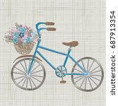 bicycle embroidery with small... | Shutterstock .eps vector #687913354