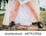 unrecognizable woman naked legs ... | Shutterstock . vector #687913906