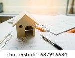 business man holding model... | Shutterstock . vector #687916684