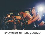 group of people in the gym... | Shutterstock . vector #687920020