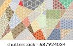 vector patchwork quilt pattern. ... | Shutterstock .eps vector #687924034