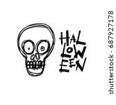 Halloween Skull Handdrawn....