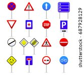 road signs color icons set... | Shutterstock .eps vector #687928129