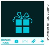 gift icon flat. simple blue...