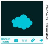 cloud icon flat. simple blue...