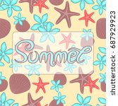 summer background with text.... | Shutterstock . vector #687929923
