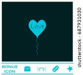 layer love icon flat. simple...