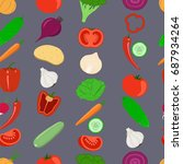 vegetables seamless background | Shutterstock . vector #687934264