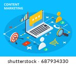 content marketing isometric... | Shutterstock .eps vector #687934330