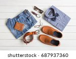 flat lay  men's fashion casual... | Shutterstock . vector #687937360