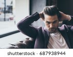 portrait of handsome caucasian... | Shutterstock . vector #687938944