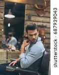 portrait of handsome caucasian... | Shutterstock . vector #687939043