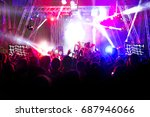 silhouettes of concert crowd in ... | Shutterstock . vector #687946066