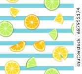 ripe juicy tropical fruit...   Shutterstock .eps vector #687952174