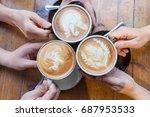 latte coffee art and people... | Shutterstock . vector #687953533