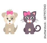 cartoon dog girl and cat | Shutterstock .eps vector #687957043