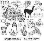 set of hand drawn peruvian... | Shutterstock .eps vector #687957094
