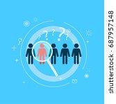 focus target group. five people ... | Shutterstock . vector #687957148