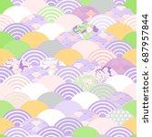 fan umbrella seamless pattern... | Shutterstock .eps vector #687957844