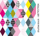 geometric elements memphis... | Shutterstock .eps vector #687957904
