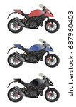 motorcycle objects. vector... | Shutterstock .eps vector #687960403