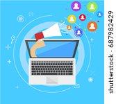 influencer marketing banner....   Shutterstock . vector #687982429